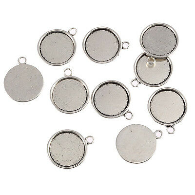 10pcs Tibetan silver round Tray Photo Frame Cameo Setting 20x20mm Free shipping