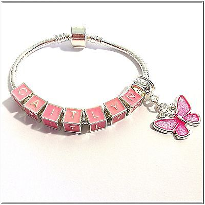 Girls Childs SP PINK Personalised Any Name HOT PINK Butterfly Charm Bracelet