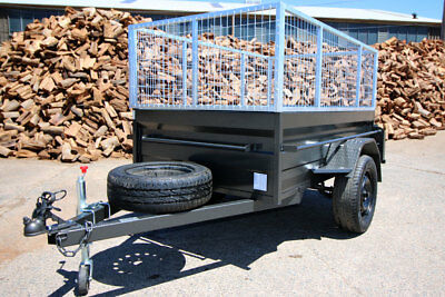 7x4 Commercial Box Trailer with 600mm Galvanised Trailer Cage, Box Chassis