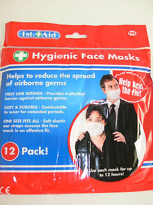 Face Mask Hygienic 12 Pack Medical Health Germ Flu Bug Protection