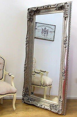 Louis Large Ornate Carved French Frame Wall Leaner Mirror Silver - 176cm x 90cm