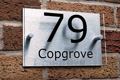 HOUSE NUMBER SIGN / PLAQUE Brushed Aluminium & Acrylic Modern Contemporary