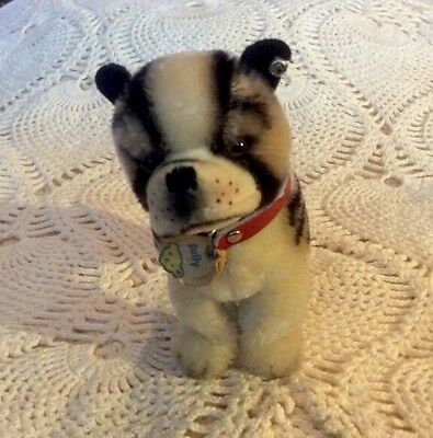 Vintage Steiff Bully Dog. Mohair. Has Red Collar And Tag. Button In Ear.