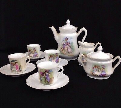 Antique 13 Pc TEA SET VICTORIAN CHILDREN Playing Drinking Tea Molded Porcelain