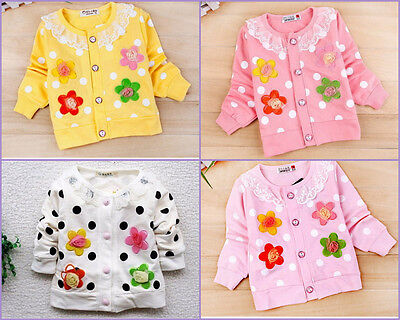 Baby girls Cute Flower Long Sleeve Design Outwear Cardigan Top (Only 6-9M left)