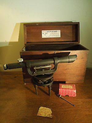 Vintage Starrett Transit Leveling Instrument w Telescope and Ground Level