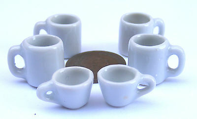 1:12 Scale 6 x Hand Painted White Ceramic Dolls House Miniature Coffee Mugs/Cups