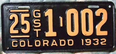 Old Photo. 1932 Colorado Guest Automobile License Plate