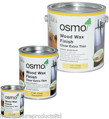 Osmo Wood Wax Clear Extra Thin 1101 Transparent Interior Wood Finish - 4 sizes