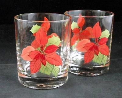 Block POINSETTIA 2 Double Old Fashioned 8 ounce each GREAT CONDITION