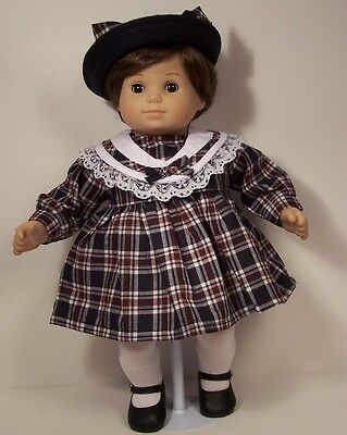 2pc NAVY BLUE BURGUNDY Plaid Dress w/Hat Doll Clothes For Bitty Baby Girl DEBs
