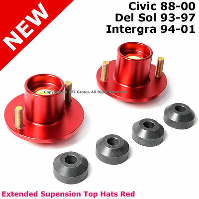 2 Civic Del Sol Integra Suspension Lowering Extended Aluminum Top Hats Red