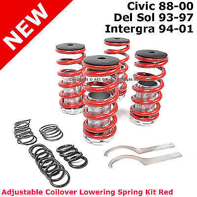 Civic Del Sol Integra Adjustable Coilover Coil Over Lowering Spring Kit Red
