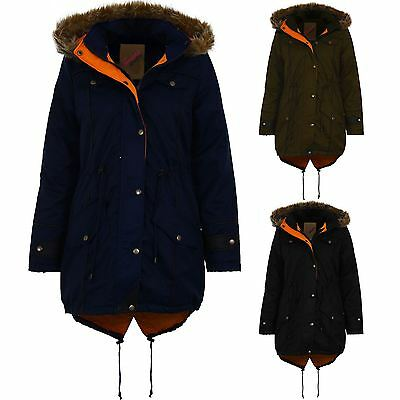 Ladies Faux Fur Hooded Fishtail Parka Jacket Women's Quilted Warm Winter Coat