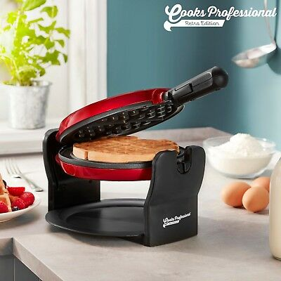 Rotary Belgian Waffle Maker | Round Non Stick Iron (Red) by Cooks Professional