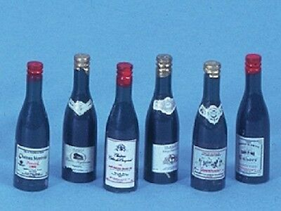 Six Wine Bottles , Dolls House Miniature. Food & Drink  Alcohol Party Tasting