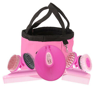 Horse Equine Stable 8 Piece Palm Grip Groom Kit / Pink