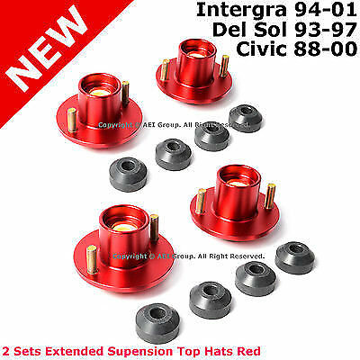 4 Civic Del Sol Integra Suspension Lowering Extended Aluminum Top Hats Red