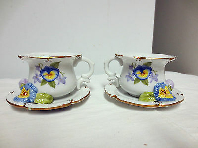 Lot 2 Matching 2003 Avon Luminous Treasures Votive Candle Holders-Teacup/Pansy