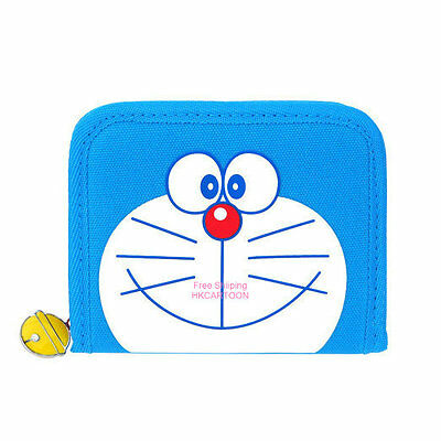 Japan Doraemon 3-Fold Head Shape Wallet Blue Nylon Wallet D03-6536-1