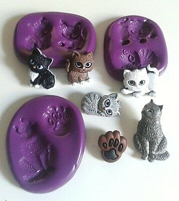 Silicone CATS Moulds Set Cake Decorating Toppers Fimo Sugarpaste Fondant Mold