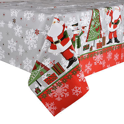 Christmas Tablecloth Large 140 x 240cm PVC Wipe Clean Red Santa Table Cloth