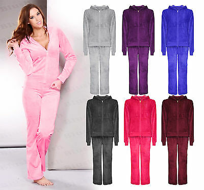 Womens Ladies NEW Velour Tracksuit Hoodie Joggers Set Hood Casual Plus Size 8-24