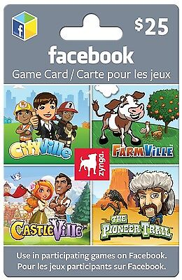 Facebook Zynga Gift Card - $25 Mail Delivery