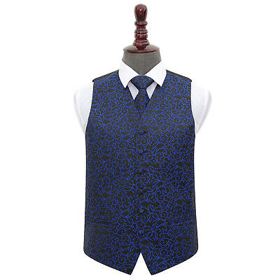 DQT Woven Swirl Patterned Black & Blue Mens Wedding Waistcoat & Tie Set