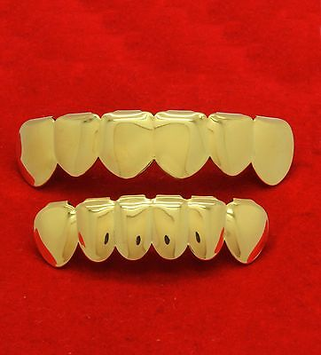 18k Gold Plated Stainless Steel Hip Hop Teeth Grillz Top & Bottom Grill Set