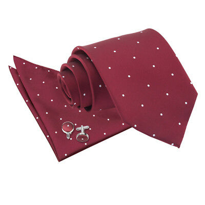 DQT Woven Pin Dot Dotted Burgundy Mens Classic Skinny Tie Hanky Cufflinks Set