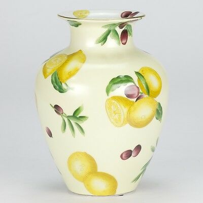 NEW Country vintage style hand painted Vase jar porcelain yellow lemon 20cm 8""