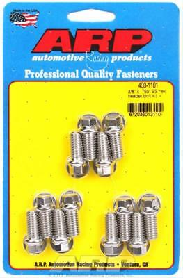 "ARP Header Bolts Hex Head 3/8"" Wrench Stainless Steel Polished SBC Set of 12"
