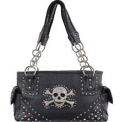 CONCEALED CARRY HANDBAG WITH SKULL AND CROSSBONES