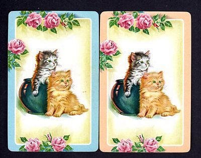 Vintage Swap/Playing Cards - Beautiful Kittens  Pair