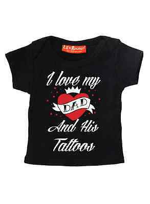 DARKSIDE CLOTHING I Love My Dad and His Tattoos BABY TSHIRT/T-SHIRT/TOP, biker