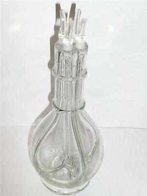 France Clear Glass 4 Cylinder Sectional Wine / Liquor Decanter w All Stops EUC