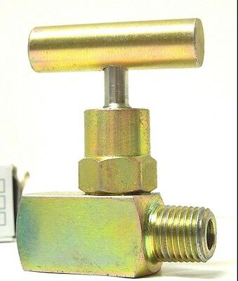 "NEEDLE VALVE MINI 1/4"" MALE x FEMALE NPT STEEL 6000 PSI T-BAR <MCH4M4F-PLT-B"