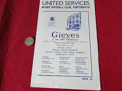 UNITED Services Portsmouth  v MERCHANT Taylors Rugby Union Programme 19/12/53