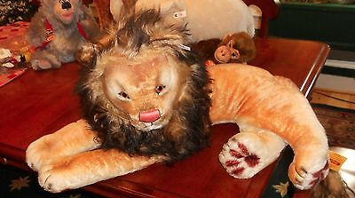 """Steiff Mohair Leo Lion 1956 Replica Tagged Neck Ear Foot #0349  Over 36"""" Long"""