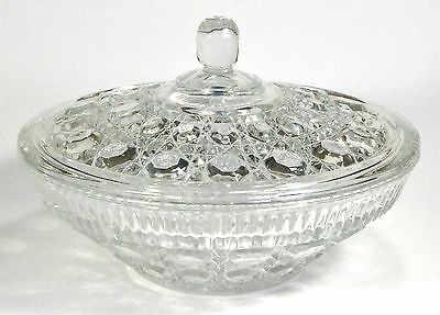VINTAGE Federal Windsor Pattern Lidded Clear Candy Dish, ca. 1970s