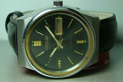 VINTAGE CITIZEN AUTOMATIC DAY DATE STEEL MENS 10601802 WATCH Y642 OLD ANTIQUE