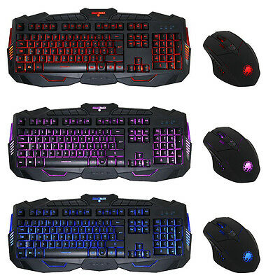 Game Max Gamer Kit 3 Colour LED USB Gaming Keyboard Mouse Blue/Red/Purple