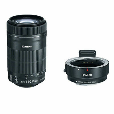 Canon EF-S 55-250mm f/4-5.6 IS STM Lens w/Canon EF-M Adapter For EF/EF-S Lense