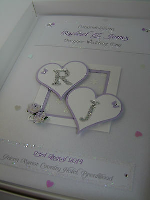 Luxury Personalised Wedding Day Card, Swarovski crystals, boxed  (Lilac)