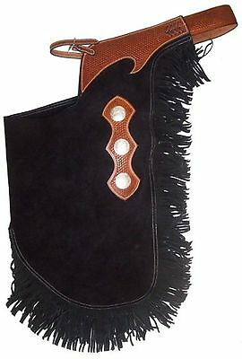 Showman Large Size Black Suede Leather Chinks w Basketweave Yoke & Fringe