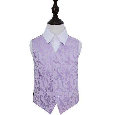 DQT Woven Floral Lilac Page Boys Wedding Waistcoat 2-14 Years