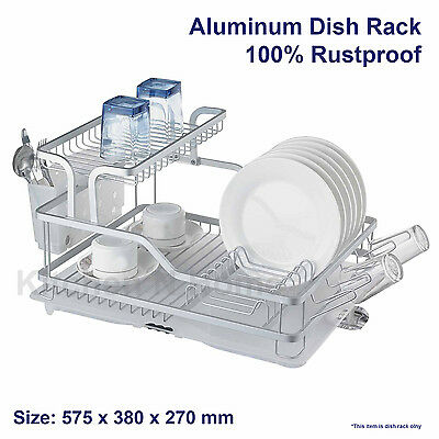 Stainless Steel Dish Rack, Dishrack, Drainer,Double Deck, with Tray & Holder