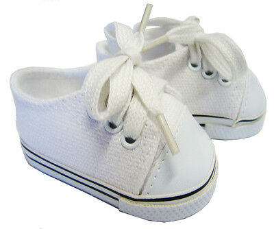 "For 18"" American Girl Boy Doll Clothes White Canvas Sneakers Gym Shoes Accessory"