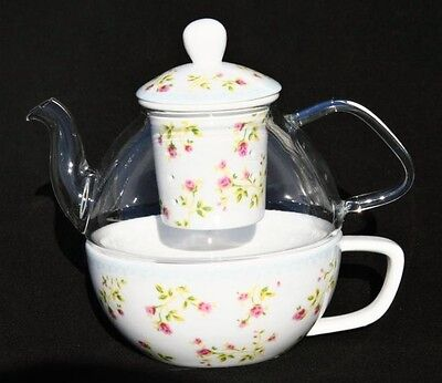 Cavalier Porcelain Tea For One Pretty Spray Roses Teapot And Cup Set.